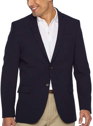 Jf J.Ferrar JF Navy Searsucker Slim Fit Sport Coat