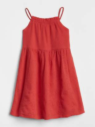 Gap Embroidered Crinkle Tank Dress
