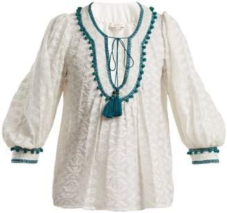TALITHA Zipzag embroidered cotton and silk-blend shirt
