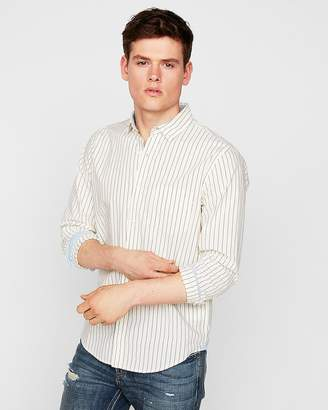 Express Slim Soft Wash Striped Button-Collar Shirt