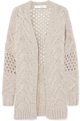 IRO Air Cable-knit Wool-blend Cardigan - Beige