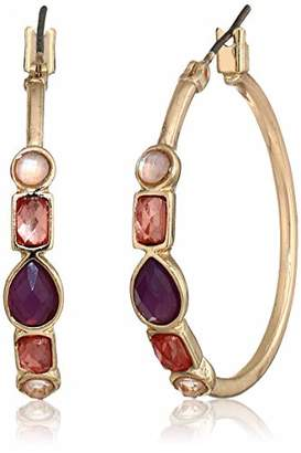 Nine West Women's Gold-Tone and Stone Hoop Earrings