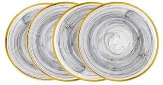Godinger Alabaster Black & Gold Dessert Plates - Set of 4