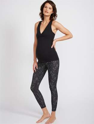 Beyond The Bump Fold Over Belly Lace Print Maternity Leggings