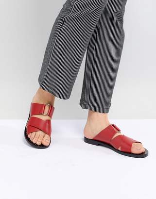 Pull&Bear Leather Cross Strap Flat Sandal In Red