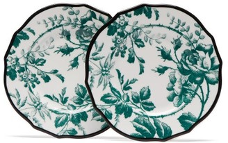 Gucci Herbarium Porcelain Dessert Plate Set - Womens - Green Multi