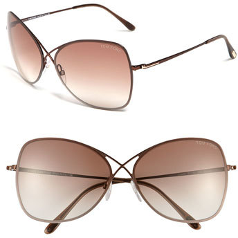 Women's Tom Ford 'Colette' 63Mm Oversized Sunglasses - Shiny Brown/ Brown Gradient