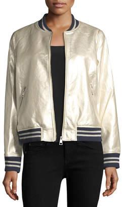 Dolce Cabo Metallic Faux-Leather Bomber Jacket