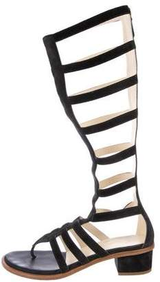 Chanel CC Suede Gladiator Sandals