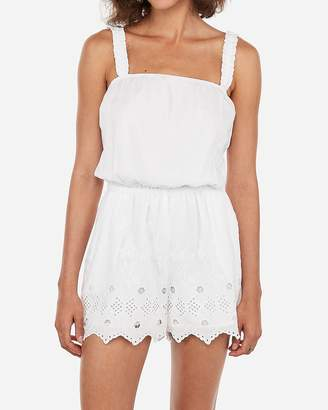Express Eyelet Lace Cinched Strap Romper
