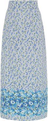 Luisa Beccaria Floral-Print Cotton-Blend Midi Skirt