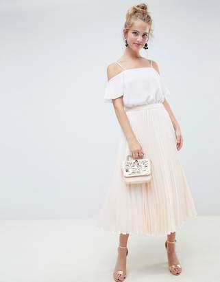 Asos Design DESIGN pleated midi skirt in spot satin