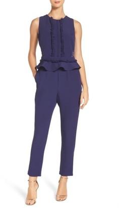 Women's Adelyn Rae Ruffle Peplum Jumpsuit $110 thestylecure.com