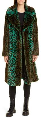 Stand Studio Fanny Gradient Leopard Print Faux Fur Coat