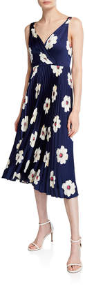 Maggy London Twisted Front Floral-Print Pleated Dress