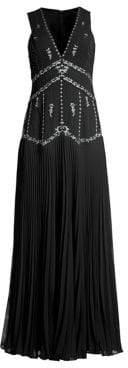 BCBGMAXAZRIA Women's Chiffon Star-Embroidered Sleeveless Gown - Black - Size 0