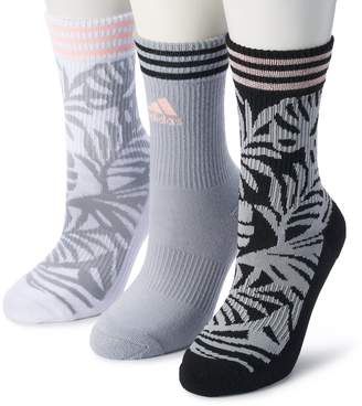 adidas Women's 3-Pack Palm Print Cushioned Crew Socks