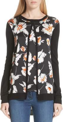 St. John Modern Floral Hammered Satin & Jersey Knit Cardigan