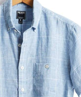 Todd Snyder Short Sleeve Glen plaid Linen Button Down Shirt in Light Blue