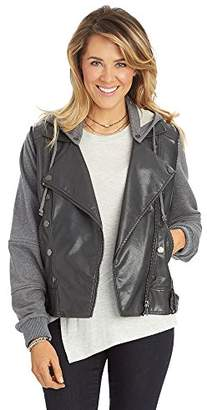 Democracy Women's Hooded Moto Jacket With Military Details