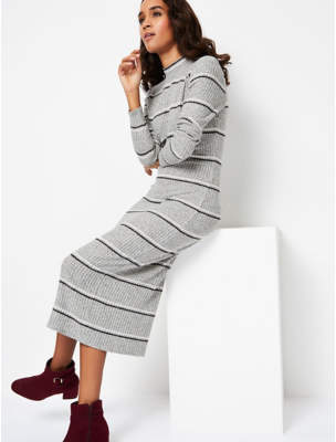 George Light Grey Striped High Neck Knitted Midi Dress