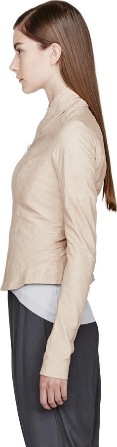 Rick Owens Nude Beige Leather Princess Biker Jacket