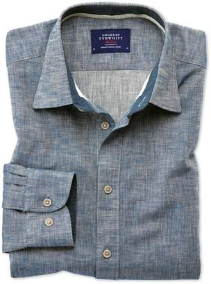 Slim Fit Popover Herringbone Denim Blue Cotton Casual Shirt Single Cuff Size XS by Charles Tyrwhitt