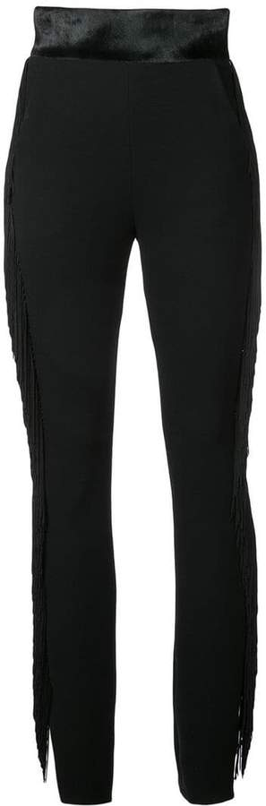 high-waist fringed trousers