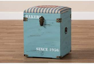 iHome Studio Striped Fabric Upholstered Light Blue Finished Wood Storage Trunk Ottoman iHome Studio