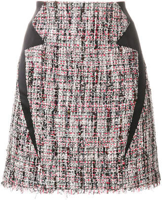 Karl Lagerfeld satin trim tweed skirt