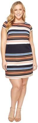 Adrianna Papell Plus Size Yarn-Dye Knit T-Shirt Dress Women's Dress