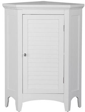 Elegant Home Fashions Sicily Corner Floor Cabinet with 1 Shutter Door, White