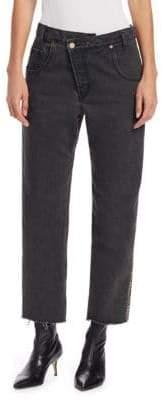 Monse Half & Half Plaid-Back Jeans