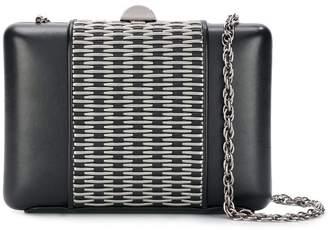 Rodo metal appliqué clutch bag