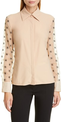 Fendi FF Karligraphy Embroidered Organza Sleeve Blouse