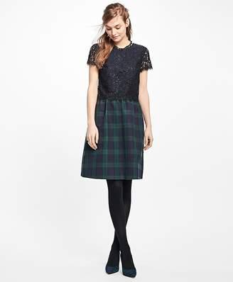 Short-Sleeve Mixed-Media Dress $228 thestylecure.com