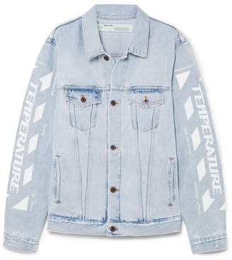 Off-White OffWhite - Oversized Distressed Printed Denim Jacket