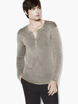 John Varvatos Stagger Stitch Heathered Henley