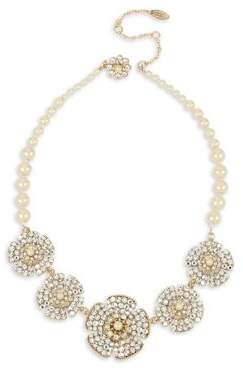 Miriam Haskell Crystal and Faux Pearl Statement Necklace