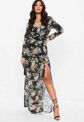 Missguided Black Floral Wrap Front Maxi Dress