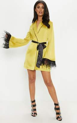 PrettyLittleThing Black Satin Feather Trim Blazer Dress