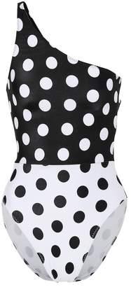 Norma Kamali One-shoulder polka-dot swimsuit