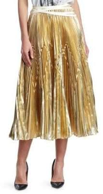 Imelda Metallic Pleated Midi Skirt