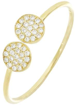 Bony Levy Prism 18K Yellow Gold Pave Diamond Double Circle Open Cuff Ring - 0.09 ctw