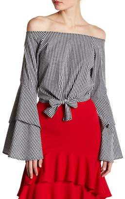 Blvd Off-the-Shoulder Checkered Front Tie Blouse