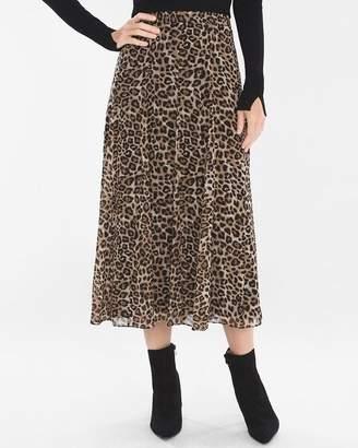 Pleated Leopard-Print Skirt