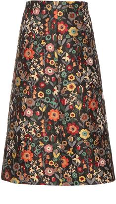 REDVALENTINO Fancy Flower-jacquard A-line midi skirt $595 thestylecure.com
