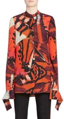 Alexander McQueen Monarch Butterfly-Print Slash Cuff Silk Shirt