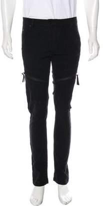 Helmut Lang Zip-Accented Velour Biker Jeans