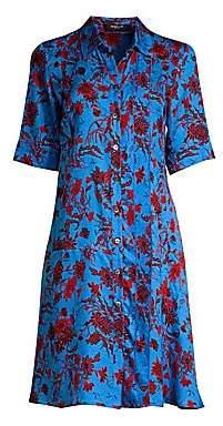 Derek Lam Women's Floral Silk A-Line Shirtdress